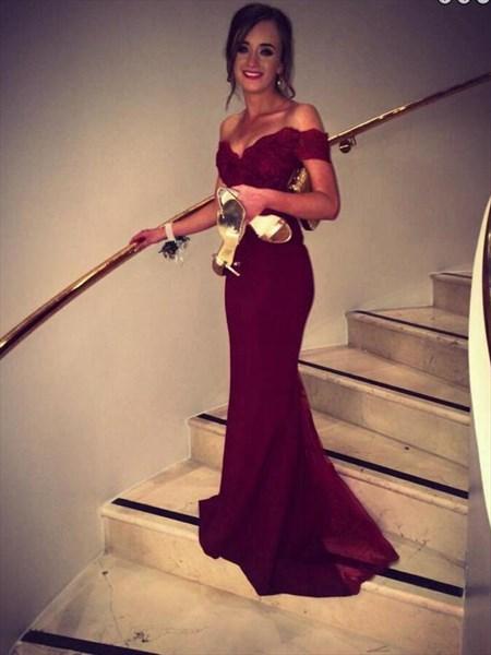 Burgundy Off The Shoulder Sweetheart Neck Sheath Mermaid Prom Dress