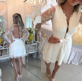 White Illusion Long Sleeve V Neck Knee Length Lace Homecoming Dress