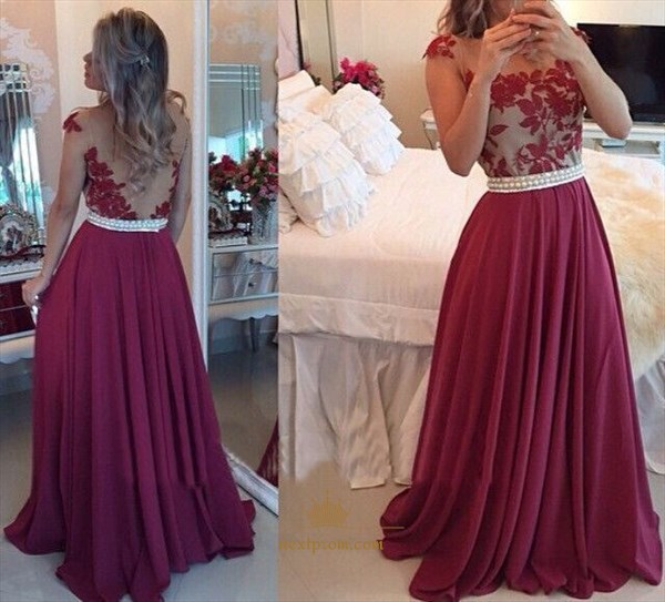 Burgundy Chiffon Long Prom Dress With Applique Bodice And Beaded Waist