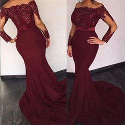 Burgundy Off Shoulder Applique Beaded Bodice Sheath Mermaid Prom Dress