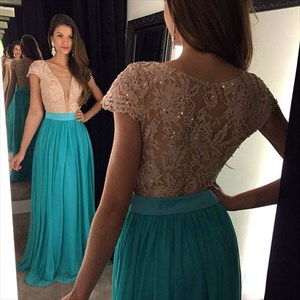 Turquoise Cap Sleeve Lace Beaded Bodice Ruched Chiffon Long Prom Dress