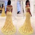 Yellow Off The Shoulder Mermaid Prom Dress With Illusion Lace Overlay