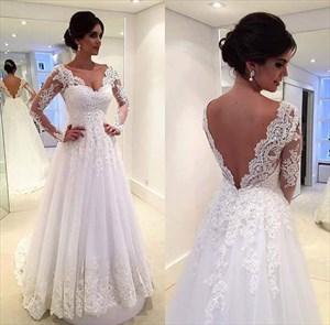 White Illusion Long Sleeve Lace Applique Embellished Wedding Dress