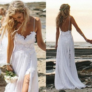 White Spaghetti Strap Lace Bodice Chiffon Long Wedding Dress With Slit