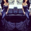 Royal Blue Strapless Sweetheart Neck Sequin Sheath Mermaid Prom Dress