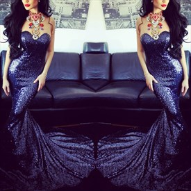 Royal Blue Strapless Sweetheart Neck Sequin Sheath Mermaid Prom Dress