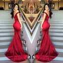 Elegant Red Off The Shoulder Sheath Mermaid Prom Dress With Open Back