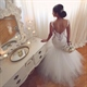 White Dropped Waist Mermaid Wedding Dress With Lace Applique Bodice