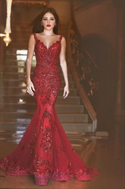 Sparkly Red Spaghetti Strap Mermaid Prom Dress With Lace Embellished