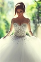 Illusion Neckline Long Sleeve Beaded Bodice Ball Gown Wedding Dress