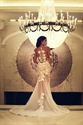White Illusion Floral Applique Embellished Wedding Dress With Train