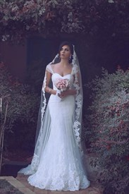 Elegant Lace Overlay Mermaid Floor Length Wedding Dress With Straps
