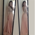Light Pink Long Sleeve Chiffon Long Prom Dress With Lace Beaded Bodice