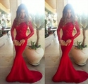 Red Elegant Off Shoulder Long Sleeve Lace Bodice Mermaid Prom Dress