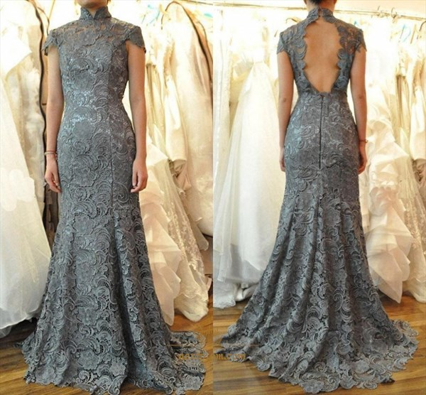 Grey High Neck Cap Sleeve Backless Lace Applique Mermaid Prom Dress