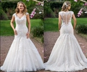 Cap Sleeve Illusion Lace Applique Bodice Dropped Waist Wedding Dress