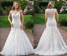 Sheer Applique Embellished Wedding Dress With Detachable Tulle Train