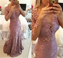 Long Sleeve Illusion Beaded Bodice Lace Sheath Mermaid Long Prom Dress