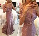 Long Sleeve Illusion Beaded Bodice Lace Sheath Mermaid Long Prom Dress