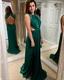 Hunter Green Sleeveless Backless Cut Out Waist Chiffon Long Prom Dress
