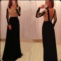 Long Sleeve Applique Bodice Backless Black Chiffon A Line Prom Dress