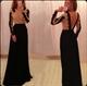 Long Sleeve Applique Bodice Backless Black Chiffon A Line Prom Dress
