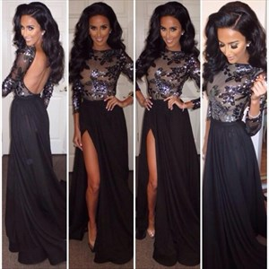 Black Chiffon Prom Dress With Sheer Embellished Bodice And Front Split