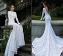 White Long Sleeve Lace Mermaid Wedding Dress With Train And Open Back