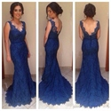 Royal Blue Sleeveless V Neck Backless Lace Sheath Mermaid Prom Dress