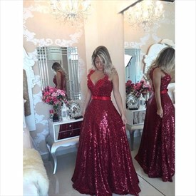 Burgundy V Neck Backless Sequin A Line Prom Dress With Applique Strap