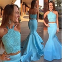 Sky Blue Halter Neck Lace Bodice Stain Two Piece Mermaid Prom Dress