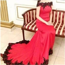 Red Lace Embellished Off The Shoulder Mermaid Prom Dress With Train