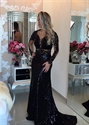Black Sheer Long Sleeve Sequin Mermaid Prom Dress With Keyhole Back