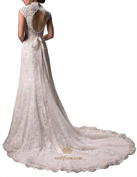 Lace Overlay Cap Sleeve Keyhole Back Mermaid Wedding Dress With Train