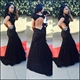Black Lace Sheath Mermaid Prom Dress With Cap Sleeve And Keyhole Back