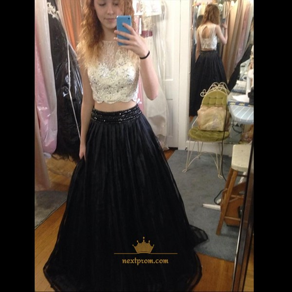 White Lace Bodice And Black Chiffon Bottom Two Piece Long Prom Dress