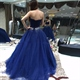 Elegant Royal Blue Strapless Tulle Quinceanera Dress With Beaded Waist