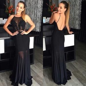 Black Spaghetti Strap Backless Floor Length Sheer Chiffon Prom Dress