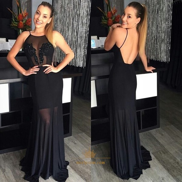 Black Spaghetti Strap Backless Floor Length Sheer Chiffon Prom Dress