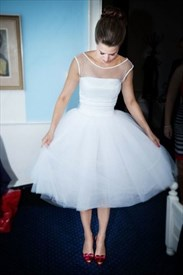 Simple White Illusion Neckline Tea Length Tulle A Line Wedding Dress