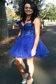 Knee Length Royal Blue Strapless Sweetheart Beaded Bodice Tulle Dress