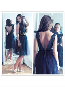 Black Sleeveless Backless Knee Length Tulle Embellished Lace Dress