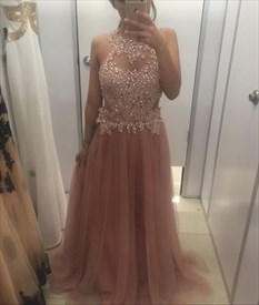 Pink Halter Applqiue Beaded Bodice Keyhole Back Tulle Long Prom Dress