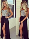 Black Strapless Beaded Bodice Front Split Cut Out Chiffon Prom Dress