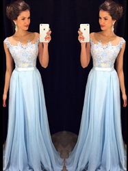 Elegant Light Blue Sleeveless Illusion Lace Bodice Chiffon Prom Dress