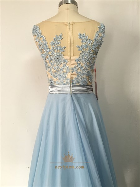 Elegant Light Blue Sleeveless Illusion Lace Bodice Chiffon Prom Dress