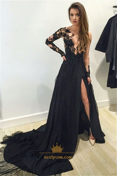 Black Illusion Applique Bodice Side Split Prom Long Dress With Train