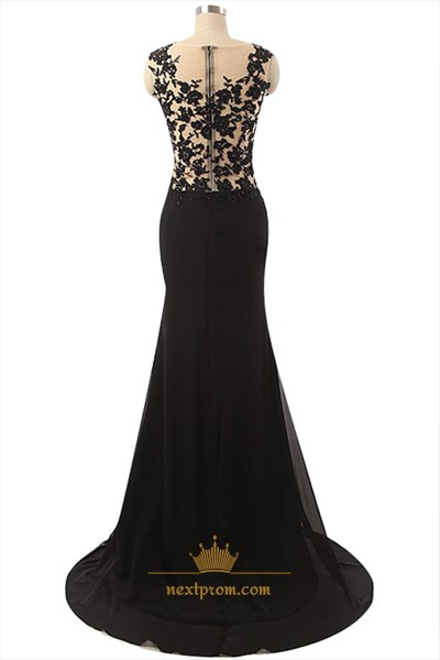 Black Sheer Applique Bodice Mermaid Chiffon Prom Dress With Side Split