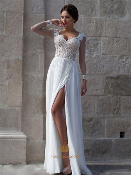 White Sheer Long Sleeve Lace Bodice Side Split Chiffon Long Prom Dress