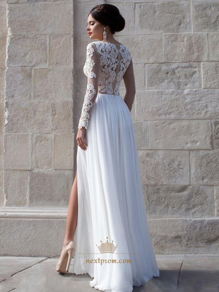 White Sheer Long Sleeve Lace Bodice Side Split Chiffon Long Prom Dress
